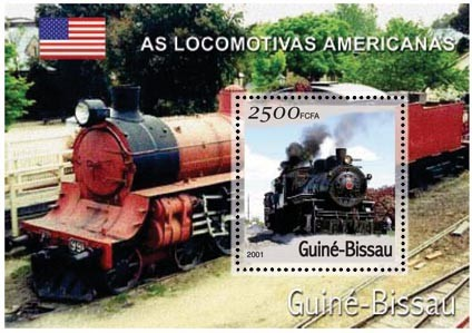 Trains Americain 2500 FCFA S/S - Issue of Guinée-Bissau postage stamps
