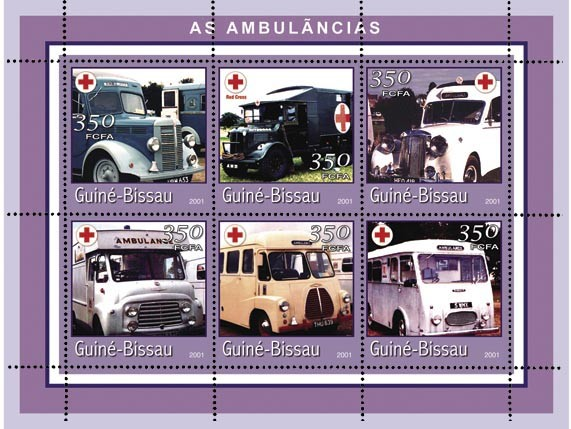 AMBULANCEC 6 x 350 FCFA - Issue of Guinée-Bissau postage stamps