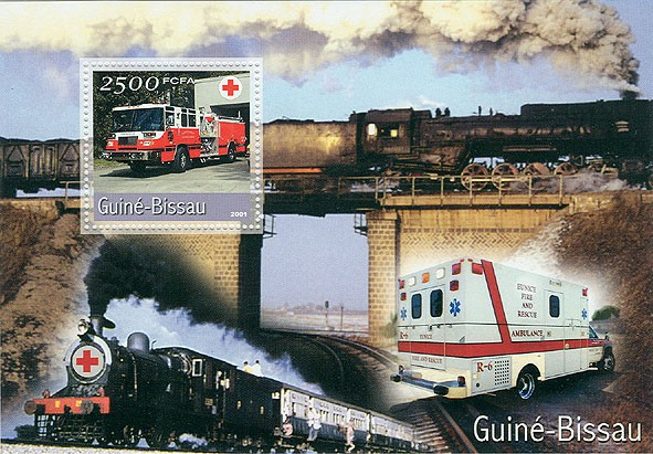 VEHICULES & Rouge (grand format)  2500 FCFA S/S - Issue of Guinée-Bissau postage stamps