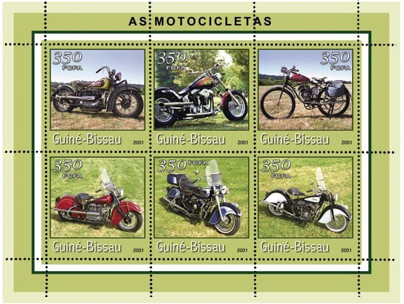 MOTOCYCLETTES 6 x 350 FCFA - Issue of Guinée-Bissau postage stamps