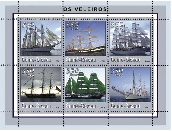 BATEAUX A VOILES 6 x 350 FCFA - Issue of Guinée-Bissau postage stamps