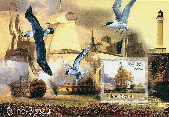 Bateaux a voiles&Phares (grand format) 2500 FCFA S/S - Issue of Guinée-Bissau postage stamps