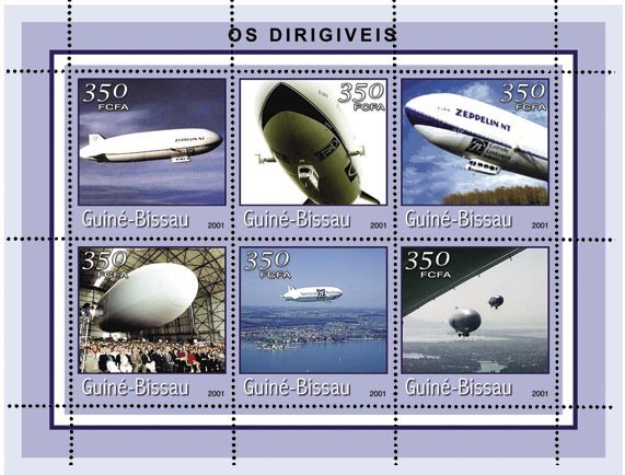 ZEPPELINS 6 x 350 FCFA - Issue of Guinée-Bissau postage stamps