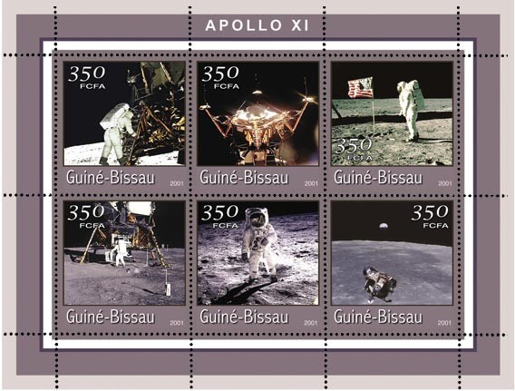 APOLO XI 6 x 350 FCFA - Issue of Guinée-Bissau postage stamps