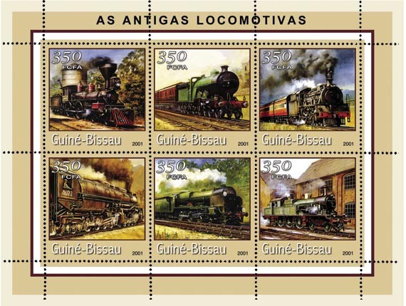 LOCO. ANCIENNES (bord beige)     6 x 350 FCFA - Issue of Guinée-Bissau postage stamps