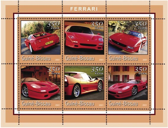 FERRARI 6 x 350 FCFA - Issue of Guinée-Bissau postage stamps