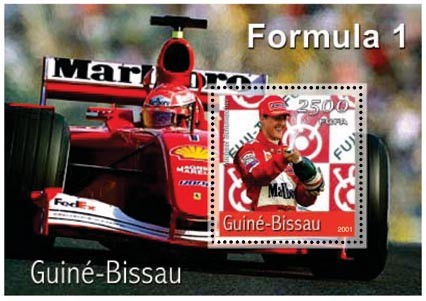 Ferrari 2500 FCFA S/S - Issue of Guinée-Bissau postage stamps