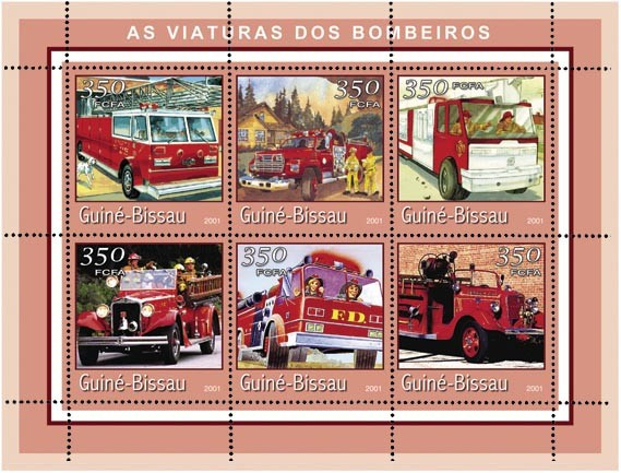 CAMIONS POMPIERS (bord rouge) 6 x 350 FCFA - Issue of Guinée-Bissau postage stamps