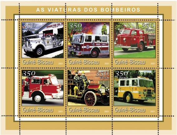 CAMIONS POMPIERS (bord jaune) 6 x 350 FCFA - Issue of Guinée-Bissau postage stamps