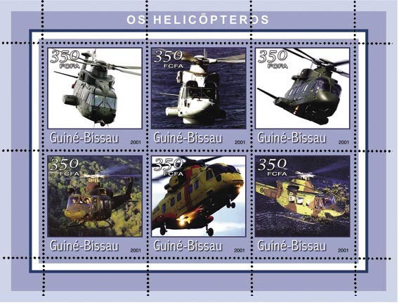 HELICOPTERES 6 x 350 FCFA - Issue of Guinée-Bissau postage stamps