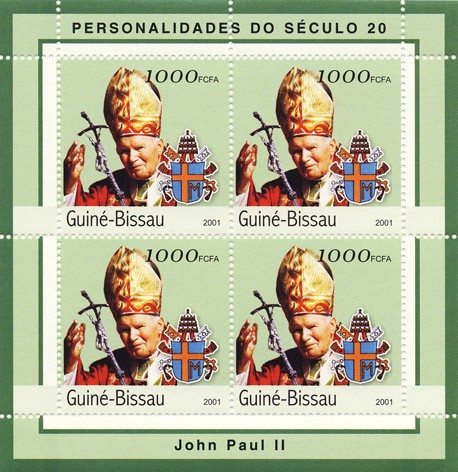 Joan Paul II      4 x 1000 FCFA - Issue of Guinée-Bissau postage stamps