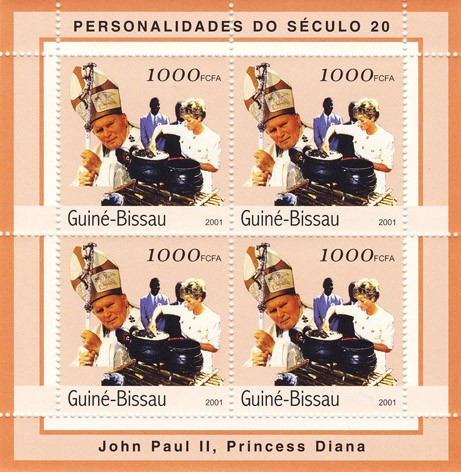 Joan Paul II - Diana       4 x 1000 FCFA - Issue of Guinée-Bissau postage stamps