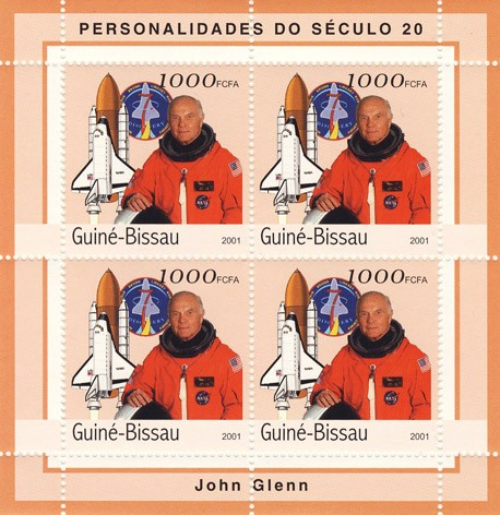 John Glenn (espace)     4 x 1000 FCFA - Issue of Guinée-Bissau postage stamps