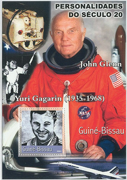 John Glenn (espace) & Gagarin     S/S - Issue of Guinée-Bissau postage stamps