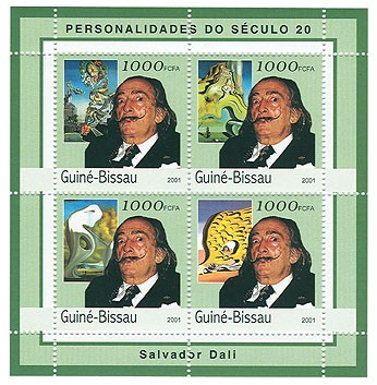 Salvador Dali - Issue of Guinée-Bissau postage stamps