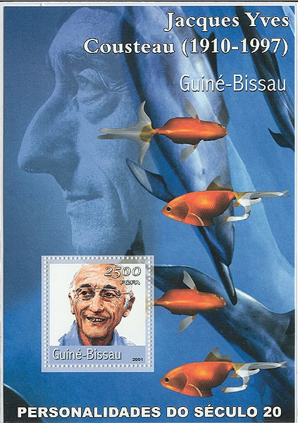 Jacques Yves Cousteau     S/S - Issue of Guinée-Bissau postage stamps