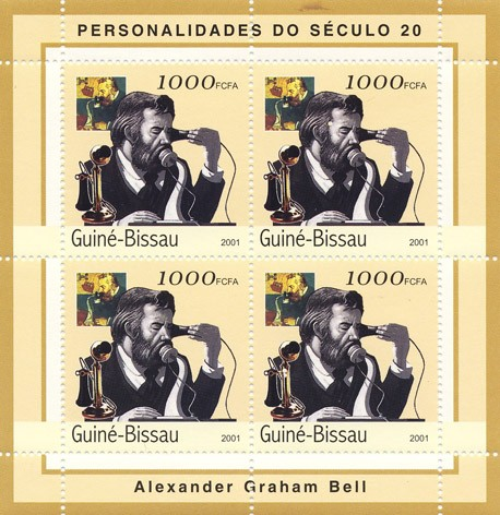 Alexander Graham Bell     4 x 1000 FCFA - Issue of Guinée-Bissau postage stamps