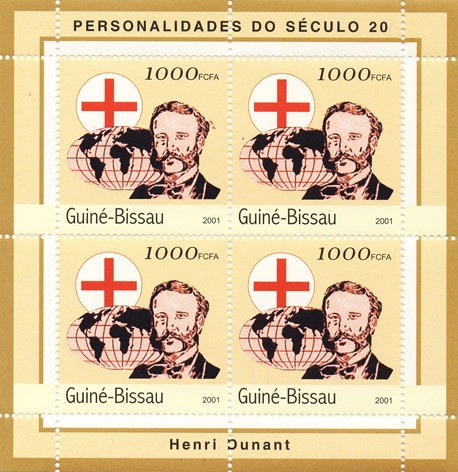 Henri Dunant ( red cross )     4 x 1000 FCFA - Issue of Guinée-Bissau postage stamps