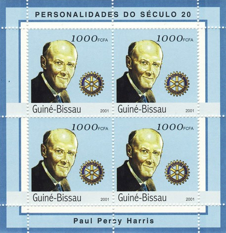 Paul Percy Harris ( Rotary)    4 x 1000 FCFA - Issue of Guinée-Bissau postage stamps