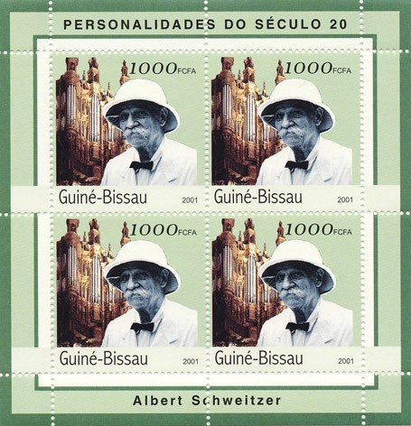 Albert Schweitzer    4 x 1000 FCFA - Issue of Guinée-Bissau postage stamps