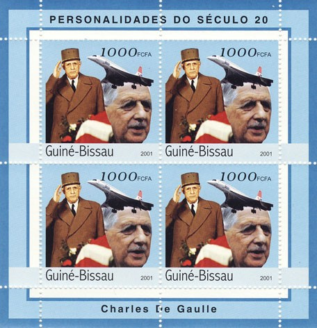 Charles De Gaulle    4 x 1000 FCFA - Issue of Guinée-Bissau postage stamps