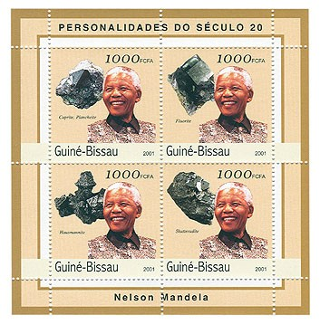 Nelson Mandela (mineralls)   4 x 1000 FCFA - Issue of Guinée-Bissau postage stamps