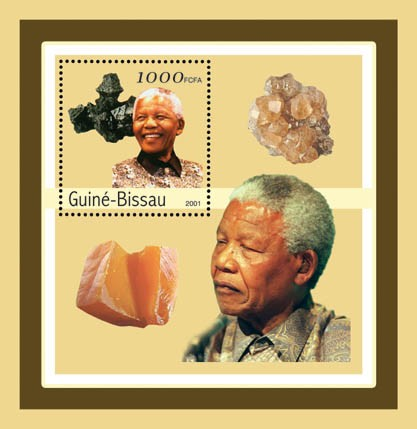 Nelson Mandela (mineralls)  1000 S/S - Issue of Guinée-Bissau postage stamps