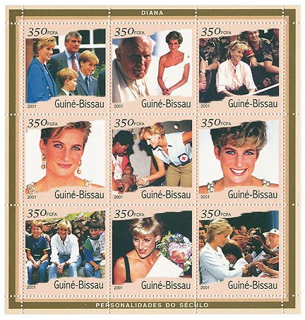 Lady Diana   9 x 350 FCFA - Issue of Guinée-Bissau postage stamps