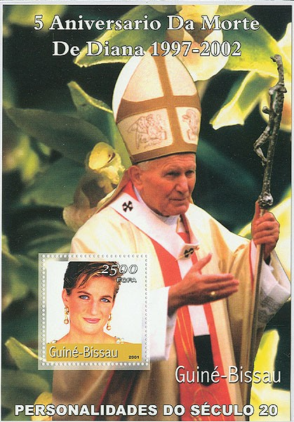Lady Diana (5 eme Anniv)&(Pope)  S/S - Issue of Guinée-Bissau postage stamps