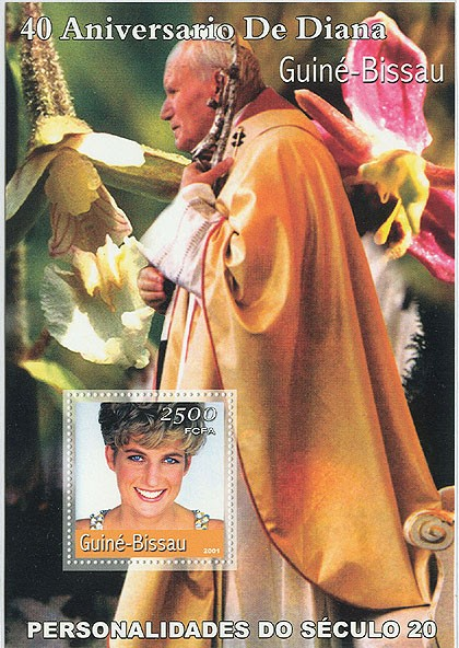 Lady Diana (40 eme Anniv)&(Pope)  S/S - Issue of Guinée-Bissau postage stamps