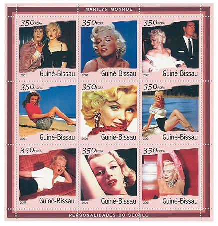 Marilyn Monroe (bord rouge)  9 x 350 FCFA - Issue of Guinée-Bissau postage stamps