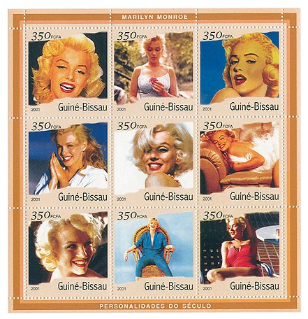 Marilyn Monroe (bord jaune)  9 x 350 FCFA - Issue of Guinée-Bissau postage stamps