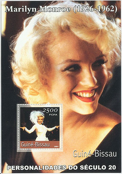 Marilyn Monroe (fond noir)  S/S - Issue of Guinée-Bissau postage stamps