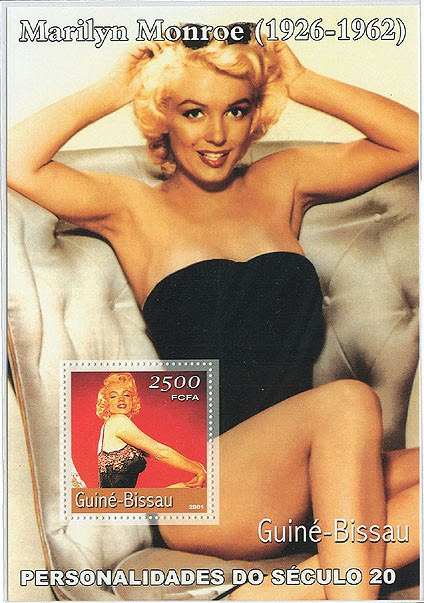 Marilyn Monroe (maillot)     S/S - Issue of Guinée-Bissau postage stamps