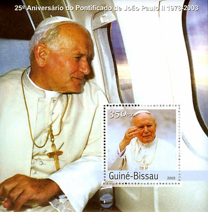 25th Anniversary of Pope  4 x 350 FCFA  S/S - Issue of Guinée-Bissau postage stamps