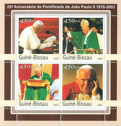25th Anniversary of Pope  4 x 450 FCFA - Issue of Guinée-Bissau postage stamps