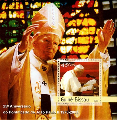 25th Anniversary of Pope  1 x 450 FCFA  S/S - Issue of Guinée-Bissau postage stamps