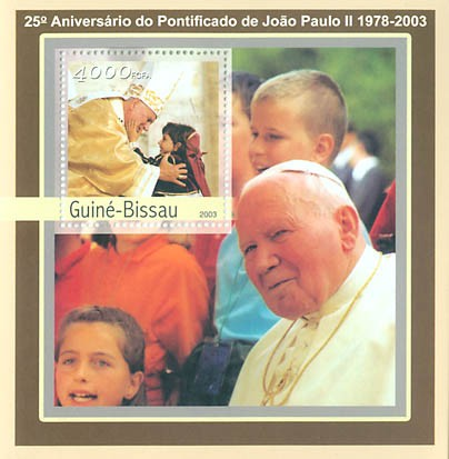 25th Anniversary of Pope  S/S 4000 FCFA - Issue of Guinée-Bissau postage stamps