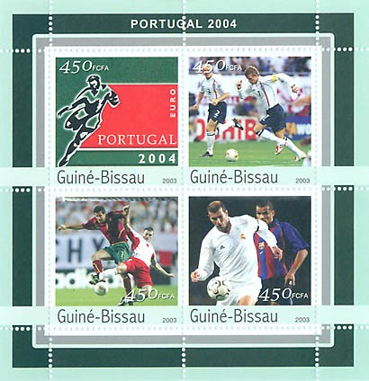Football EURO 2004 Porugal  4 x 450 FCFA - Issue of Guinée-Bissau postage stamps