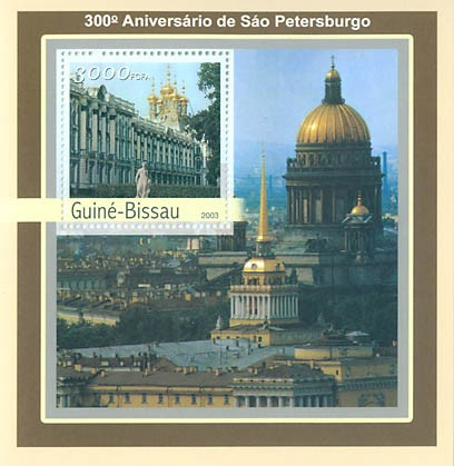 300th Anniversary of St. Petersburg S/S 3000 FCFA - Issue of Guinée-Bissau postage stamps