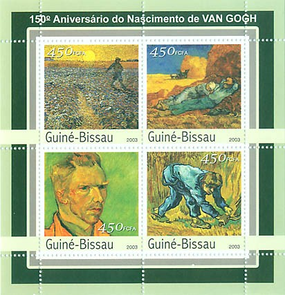150th  Anniv. Naissance de Van Gogh 4 x 450 FCFA - Issue of Guinée-Bissau postage stamps
