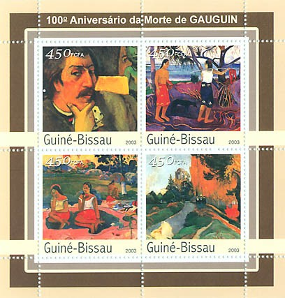 100th Anniv. .... de Gauduin 4 x 450 FCFA - Issue of Guinée-Bissau postage stamps