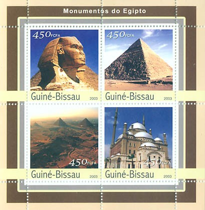 Monument of Egipte  4 x 450 FCFA - Issue of Guinée-Bissau postage stamps
