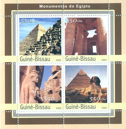 Monument of Egipte  4 x 550 FCFA - Issue of Guinée-Bissau postage stamps