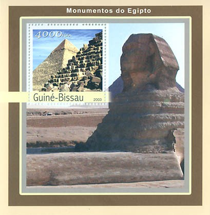 Monument of Egipte  4000 FCFA S/S - Issue of Guinée-Bissau postage stamps
