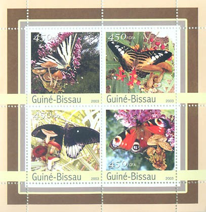 Butterfly-Mushroms 4 x 450 FCFA - Issue of Guinée-Bissau postage stamps
