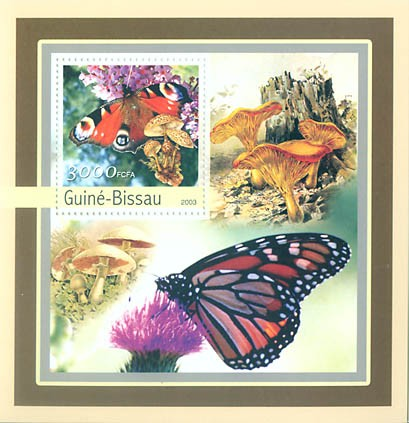 Butterfly-Mushroms 3000 FCFA S/S - Issue of Guinée-Bissau postage stamps
