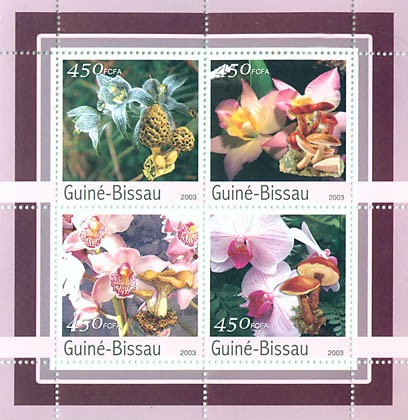 Orchides-Mushroms 4 x 450 FCFA - Issue of Guinée-Bissau postage stamps