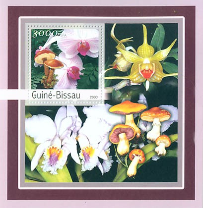 Orchides-Mushroms 3000 FCFA S/S - Issue of Guinée-Bissau postage stamps