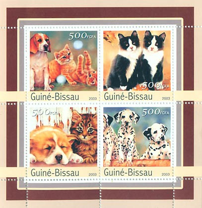 Cat-dogs  4 x 500 FCFA - Issue of Guinée-Bissau postage stamps